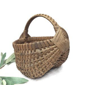 Vintage Wicker Woven Basket With Handle